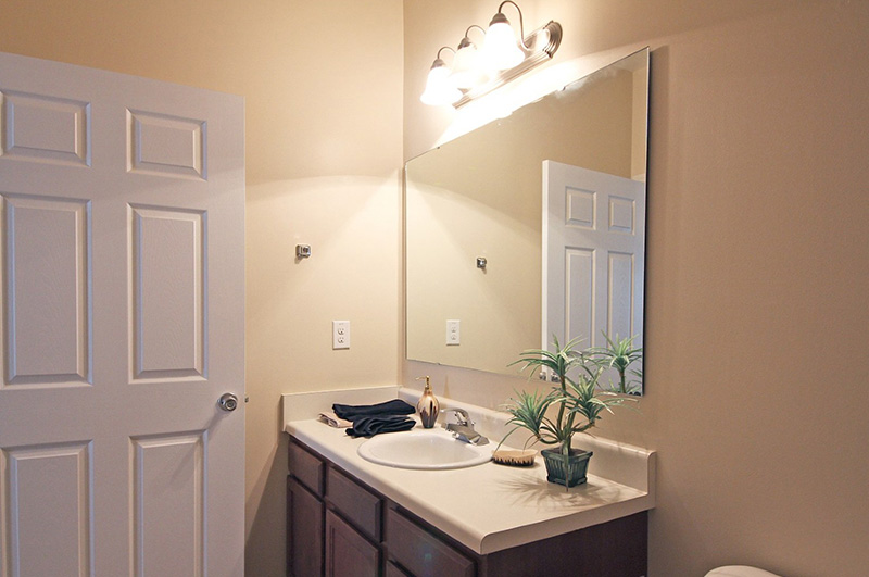 Wood Vanity and Mirror