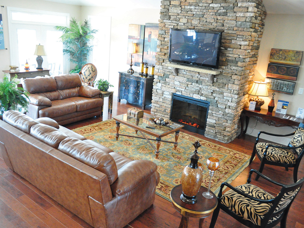 clubhouse fireplace and television